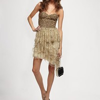 Alice and Olivia - Lucille Beaded Bustier Tier Dress - Saks.com