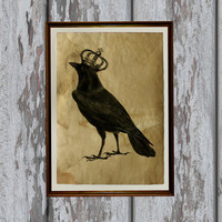 Crow art print Old paper Antiqued decoration vintage looking