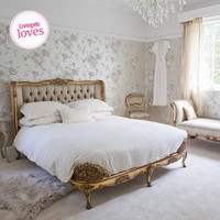 Versailles Upholstered Gold Bed|Beds|Beds &amp; Mattresses|French Bedroom Company