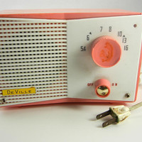 DeVille Am Radio in Pink and White by Sweetpearlvintage on Etsy