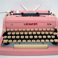 PINK 1950s Royal Typewriter with Case and Owners by joevintage