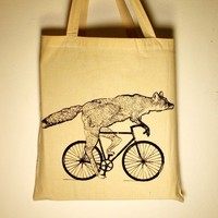 Fox on a Bike  Natural Cotton Tote Bag  FREE by darkcycleclothing