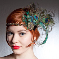 Absinthe Nymph Peacock Feather Flapper Headband by BaroqueAndRoll