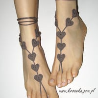 Barefoot Sandals Brown Heart Valentine&#x27;s Day gift by kroowka