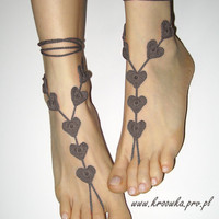 Barefoot Sandals Brown Heart Valentine's Day gift by kroowka