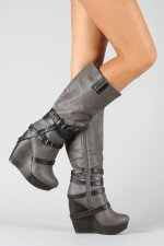 Lakers-9 Leatherette Strappy Knee High Wedge Boot