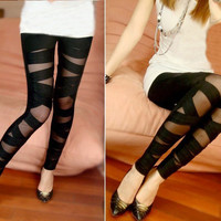 Cut-out Silk Black Leggings