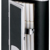 Visol &quot;SP Black&quot; Leather 6oz Liquor Flask with Built-In Cigarette Case : Elighters.com