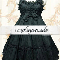 Cotton Black Ruffle Sweet Lolita Dress [T110872] - $73.00 : Cosplay, Cosplay Costumes, Lolita Dress, Sweet Lolita