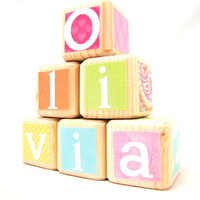 Baby Shower Decor. Wood Blocks. Nursery TOY. Coordinates with Jill McDonald Lullaby Breeze. Personalized
