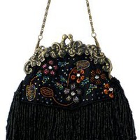 Vintage Flowers Seed Bead Flapper Clutch Evening Handbag, Clasp Purse w/Hidden Chain
