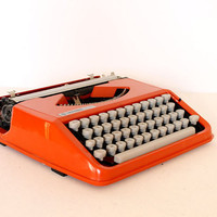 Vintage manual orange Olivetti Typewriter by AnnaLouVintage
