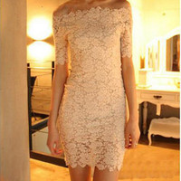 Slim Package Hip Collar Lace Dress from Showmall