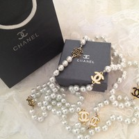 Vintage Designer Chanel Inspired Gold CC Black & White Pearl Necklace