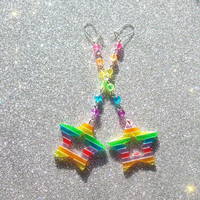 Magical Rainbow Star Earrings II from On Secret Wings