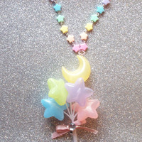 Pastel Moon and Stars Balloon Necklace from On Secret Wings