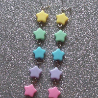 Pastel Shooting Star Earrings from On Secret Wings