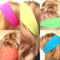 Choose One Yoga Hipster Scarf Hair Headband Neon Pink Blue Green Yellow Orange Stretch Elastic Comfortable Non-Marking FREE SHIPPING