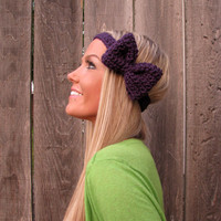 Royal Purple Bow Headband with Natural Vegan Coconut Shell Buttons - Adjustable