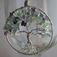 Tree of Life Pendant Fluorine Rock by KitchenWiring on Etsy