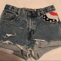 AMERICAN FLAG HIGH WASTED SHORTS  from Grunge Supply