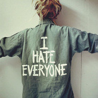 Jac Vanek &#x27;I HATE EVERYONE&#x27; Vintage Army Jacket