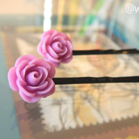 Flower Bobby Pin Light Purple Resin Handmade