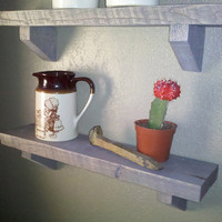 Rustic 16&quot; Grey Stained Shelf made with Reclaimed Barn Wood