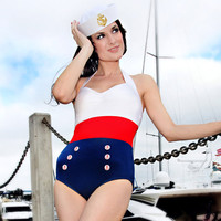 Sailor Color Blocked Nautical Retro Onepiece Bombshell Americana Swimsuit (S-2X)