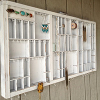 Vintage White Letterpress Jewelry Organizer with a Yellow Owl