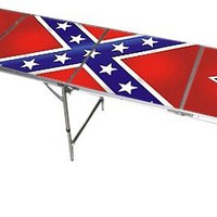 Confederate Rebel Beer Pong Table - 8 Feet with Bottle Opener, Ball Rack,