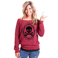 SALE/ Lovely Crossbones Bella Slouchy Wideneck Sweater