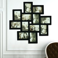 12-opening Wooden Wall Black Collage Photo Picture Frame Wall Art, Holds Six 4-by-6-inch and Six 6-