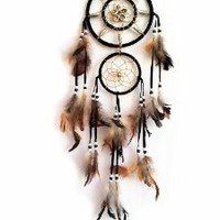 "Dream Catcher with Feathers- About 6.25""diameter and 22"" Long"