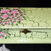 Elegant Keepsake Box Wood Jewelry Box Jewelry Organizer Hand Painted Mint Green Tea Box Custom Victorian Pink Roses Black Crackle