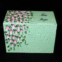 Recipe Box Wood Recipe Card Box Painted Mint Green Wooden Personalized Custom Roses Crackle