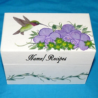 Recipe Box, Wood Recipe Card Box Painted Hummingbird Wooden Personalized Custom