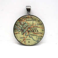 Vintage Map Pendant of Moscow Russia in Glass by CarpeDiemHandmade