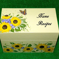 Recipe Box, Wood Recipe Card Box Painted Sunflowers Wooden Personalized Custom