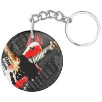 Dark hands guitar layered red image acrylic key chains from Zazzle.com