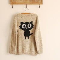 Super Cute Black Cat Sweater-EMS from ClothLess