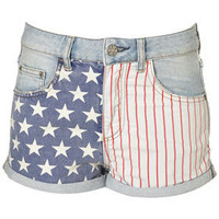MOTO Bleach Flag Print Hotpant - Shorts  - Clothing  - Topshop