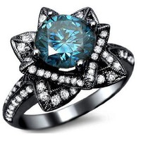 2.03ct Blue Round Diamond Lotus Flower Engagement Ring 14k Black Gold With a 1.08ct Center Diamond and .95ct of Surrounding Diamonds