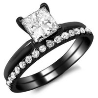 1.10ct Princess Cut Diamond Engagement Ring Bridal Set 18k Black Gold With a 0.70ct Center White Diamond and 0.40ct of Surrounding Diamonds