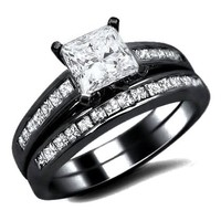 1.71ct Princess Cut Diamond Engagement Ring Bridal Set 14K Black Gold Rhodium Plating Over White Gold With A .71ct Center Diamond and 1.0ct of Surrounding Diamondss