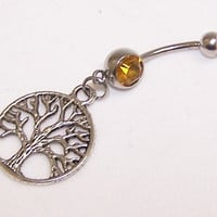 Tree of Life, Charm, Topaz, Yellow, Double, Gem, Belly, Button, Piercing
