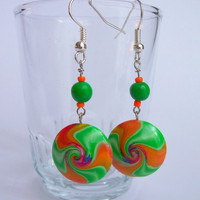 Swirled Polymer Clay Lentil Bead Earrings, Dangle pierced earrings, lime and tangerine