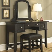 Home Styles 5531-72 Bedford Vanity Table and Bench, Black Finish