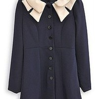 Peter Pan Collar Long Sleeve Blazer Coat,Cheap in Wendybox.com