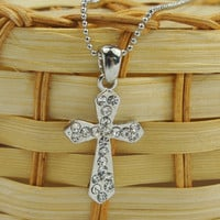 Korean Fashion Diamond Decorated Cross Necklaces : Wholesaleclothing4u.com